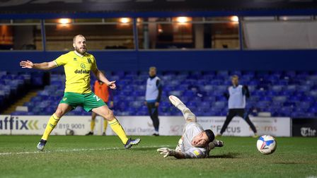 Teemu Pukki of Norwich scores his sides 2nd goal during the Sky Bet Championship match at St Andrews