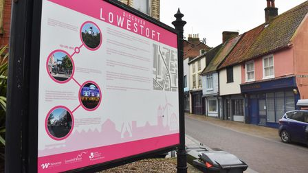 Discover Lowestoft signs promoting the town.
