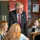 Wales' first minister Mark Drakeford chats with students at theACT Training Centre