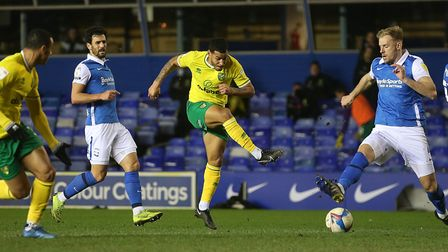 Onel Hernandez of Norwich has a shot on goal during the Sky Bet Championship match at St Andrews, Bi