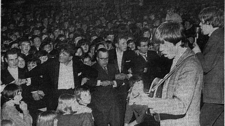 The Rolling Stones during their performance at Stevenage's Locarno Ballroom on April 1, 1964. Pictur