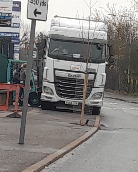 A lorry parked on the pavement near Crow Metals.