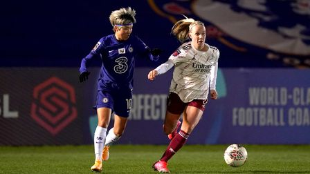 Arsenal's Beth Mead (right) and Chelsea's Ji So-yun battle for the ball during the FA Women's Super