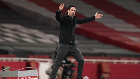 Arsenal manager Mikel Arteta reacts on the touchline during the Premier League match at the Emirates
