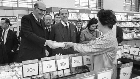 Lord Fiske, chairman of the Decimal Board, at the Strand in London in a Woolworths store testing out