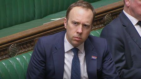 Health Secretary Matt Hancock during Prime Minister's Questions in the House of Commons, London.