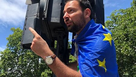 Blaise Baquiche campaigning at an anti-Brexit march. Picture: Contributed