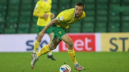 Marco Stiepermann of Norwich in action during the Sky Bet Championship match at Carrow Road, Norwich
