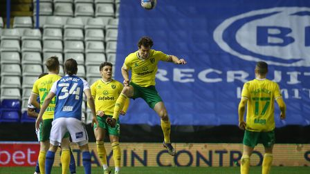 Christoph Zimmermann of Norwich heads clear during the Sky Bet Championship match at St Andrews, Bir