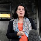 Sylvie Bermann, France's Ambassador to the UK, speaks to the media outside the French Embassy in Lon