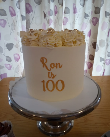 The cake for Ron Davies' 100th birthday