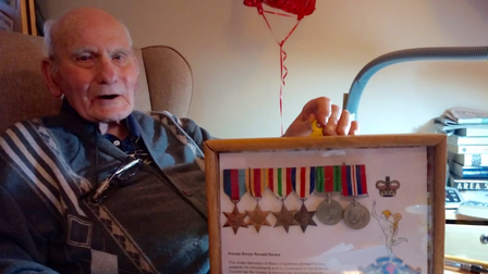 Ron Davies with his war medals at Richard Cox House in Royston