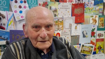 Ron Davies celebrated his 100th birthday at Richard Cox House in Royston