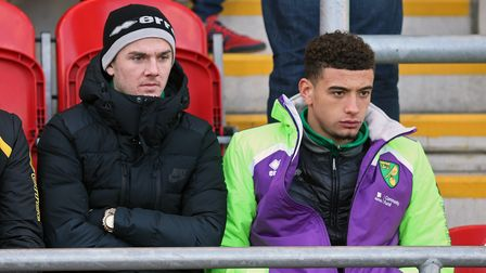 James Maddison of Norwich and Ben Godfrey of Norwich before the Sky Bet Championship match at the AE