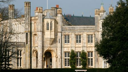 A view of Highcliffe Castle in the morning sun.