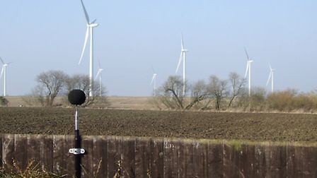 Campaigners say the noise from the Cotton Farm wind turbines, near Graveley, is not acceptable.