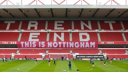 General views of the empty stands during the Sky Bet Championship match at the City Ground, Nottingh
