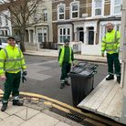 Waste crews delivering new wheelie bins in Hackney.