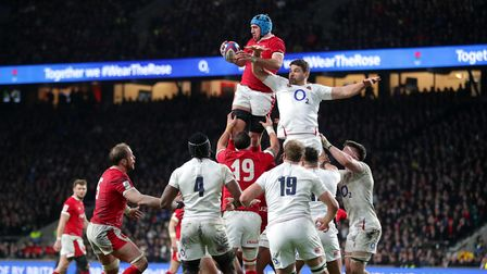 Wales' Justin Tipuric wins lineout ball against England in the Guinness Six Nations