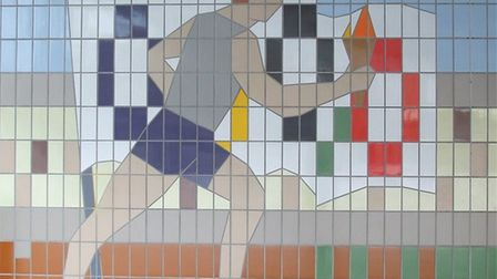 "Taken in 2009: The ""1948 Olympic Games"" section of the tile murals, at the start of Olympic Way, wh"