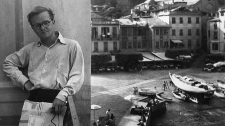 Truman Capote leanson the wall of the balcony during a stay inPortofino in1953