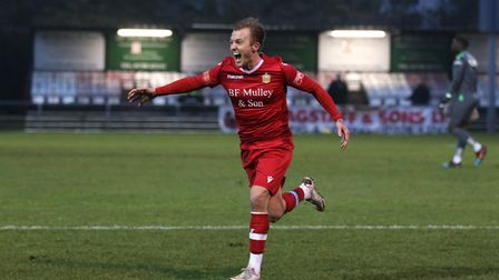 Liam Nash of Hornchurch scores the fifth and winning goal for his team and celebrates during Hornchu