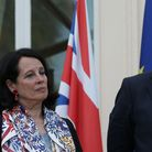 French Ambassador to Britain, Sylvie Bermann (L) listens as British Foreign Secretary Boris Johnson