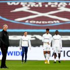 West Ham United manager David Moyes watches his players warm up prior to the Premier League match at