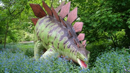 One of 72 life-size dinosaurs in the Wilderness Garden at Knebworth House.