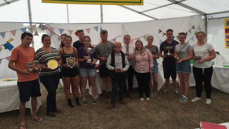 Honiton Show young farmers with trophies