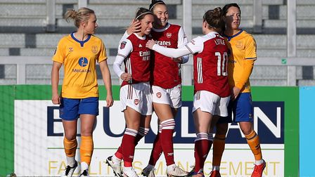 Arsenal's Jordan Nobbs (centre left) celebrates scoring her side's first goal of the game with team-