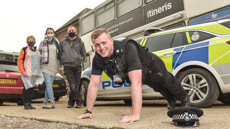 Suffolk police officer Luke Hall 2,222 push-ups within 22 hours on May 22