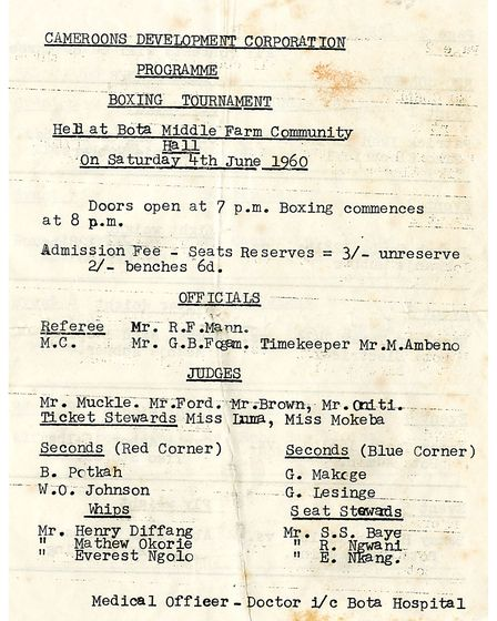 The programme for the CDC tournament