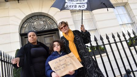 Cllr Leila Roy, son Anton and campaigner Linda Grove delivering a petition against the opening of a Tesco in Belsize Park...