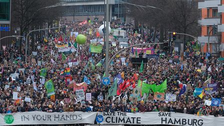 Thousands join a Fridays for Future climate protest in Hamburg on February 21. The Green Party is en