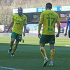 Teemu Pukki of Norwich celebrates scoring his side's 1st goal during the Sky Bet Championship match