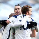 Tottenham Hotspur's Lucas Moura, Gareth Bale and Harry Kane celebrate