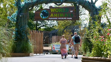 A family arriving at World of Animals at Paradise Wildlife Park.