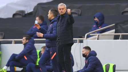 Tottenham Hotspur manager Jose Mourinho reacts during the win over Burnley