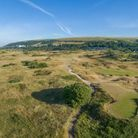 A view of the 18th hole on the East course at Saunton Golf Club
