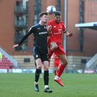 Paul Lewis of Tranmere Rovers and Jobi McAnuff of Leyton Orient during Leyton Orient vs Tranmere Rov