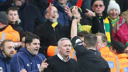 Paul Lambert is sent to the stands by referee Peter Bankes
