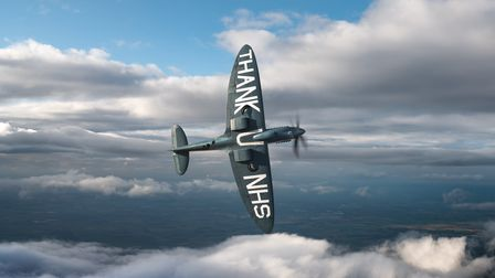 A photo-reconnaissance blue Spitfire PL983 'L', which toured the country last year in tribute to the NHS.