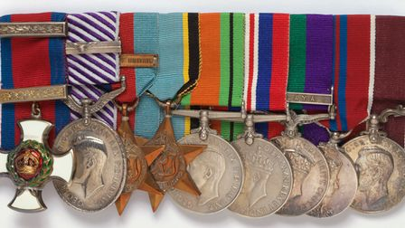 Nine medals awarded to Wing Commander George Unwin, court-mounted. These are now on display at IWM's Historic Duxford...
