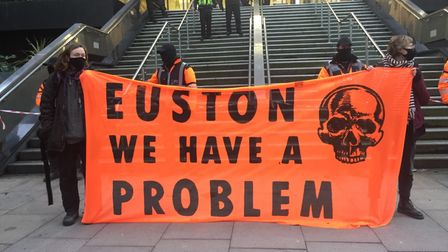 HS2 protesters at Euston Station
