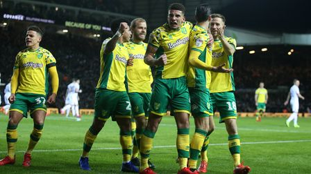 Mario Vrancic of Norwich celebrates scoring his sides 1st goal from a free kick during the Sky Bet C