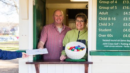 Rob Trown, creator and owner of Eaton Park Crazy Golf in Norwich, is retiring after seven years - pictured with his wife...