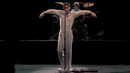 Talking Heads lead singer David Byrne in a still from concert movie Stop Making Sense, which can be seen as part of...