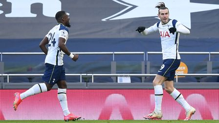 Tottenham Hotspur's Gareth Bale (right) celebrates scoring their side's fourth goal of the game duri