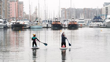 A two-person paddleboarding session, which is within coronavirus rules, in Portishead in November.